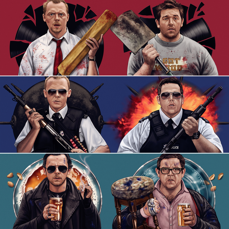 Image of Cornetto Trilogy Pairs A3 (officially licensed print set – artist proof copies)