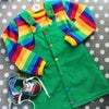 Green Rainbow Button Up Dress