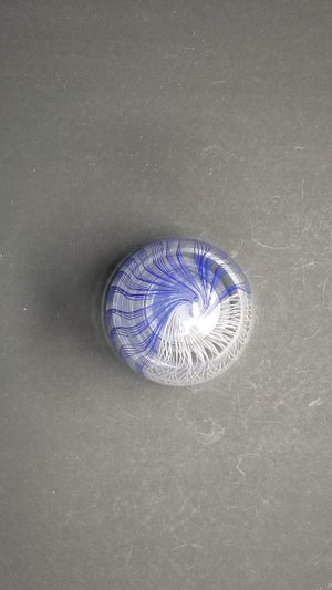 "Image of 7"" x 4"" Closed Form Blue and White Twisty Cane Vessel"
