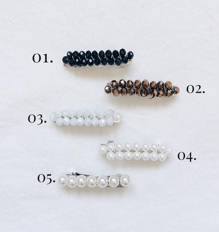 Image of Barettes MAHA XS // tissage cristal et verre nacré