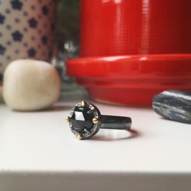 Image of secret heart — black spinel ring