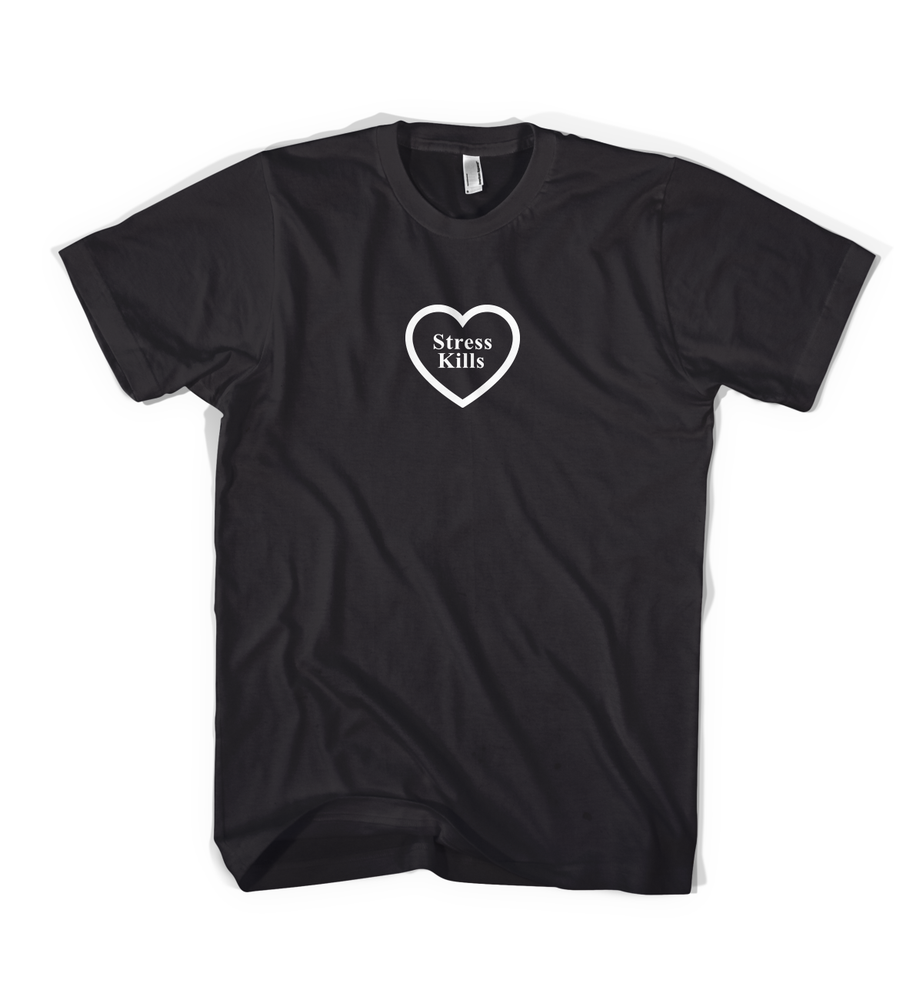 Image of Stress Kills Heart Shirt in Black