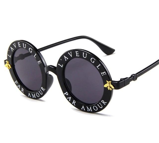 Image of Black slogan round frame glasses