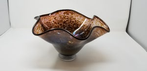 Image of Large copper wavy bowl