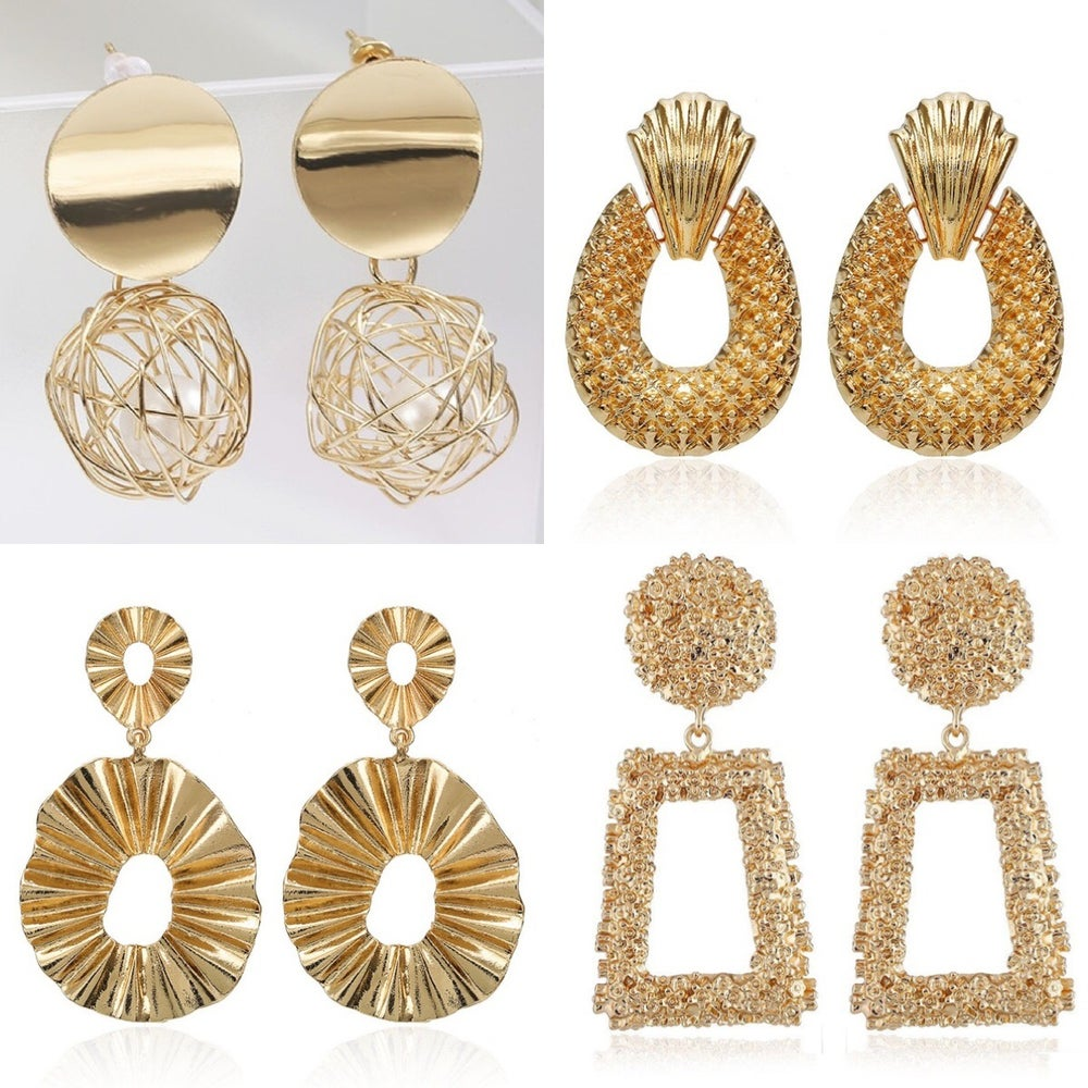 Image of Gold abstract drop earrings