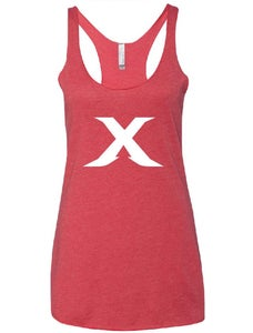 "Image of The ""X"" Line - Red/White Racer Back Tank"