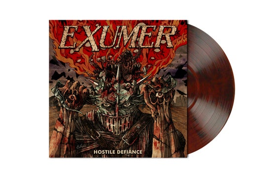 Image of HOSTILE DEFIANCE Red-Brown Black Marbled Vinyl