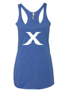 "Image of The ""X"" Line - Blue/White Racer Back Tank"
