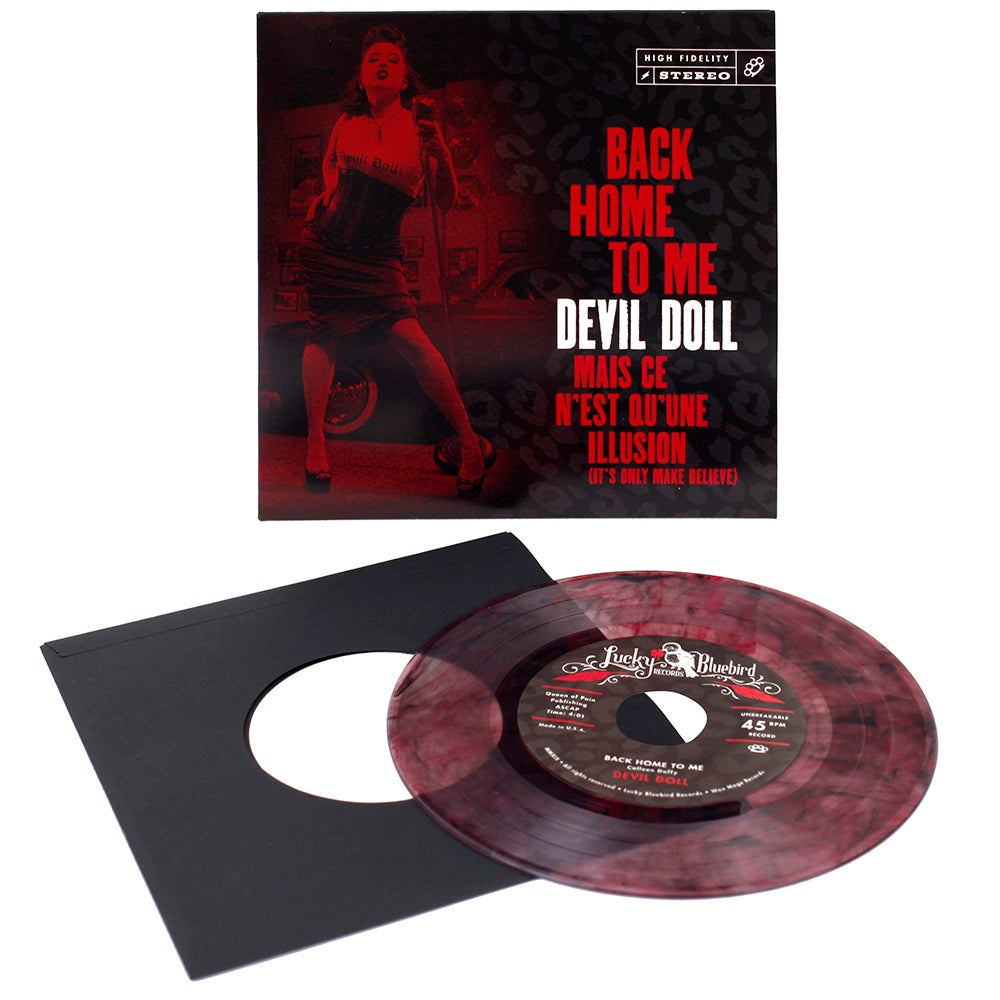 """Image of Devil Doll - Back Home to Me 7"""" on clear vinyl w/black and red swirls - Starts 2/14/19 at 12pm EST"""