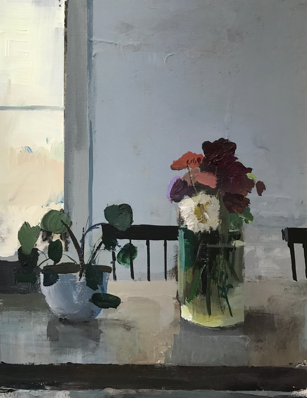 Image of Zinnias in the dining room