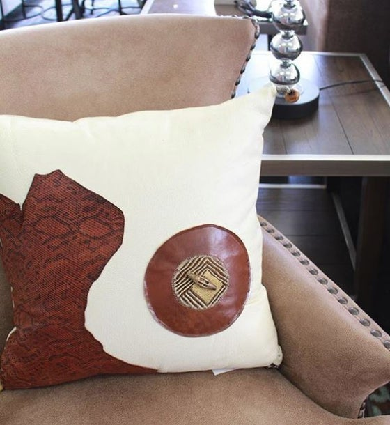 Image of Cream & Brown Square Leather Pillows
