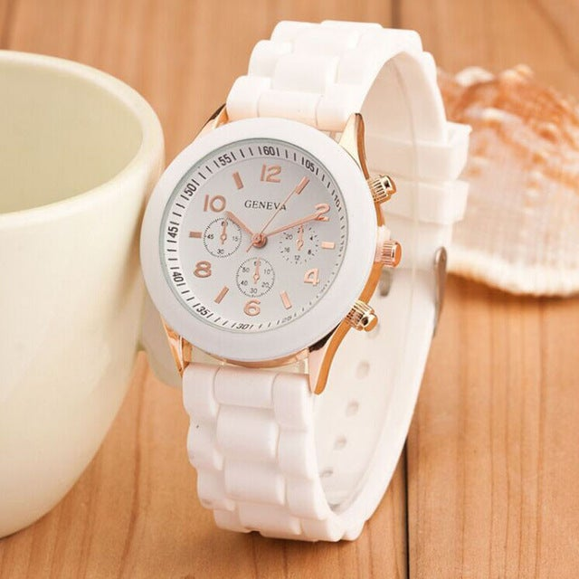 Image of White and gold silicone strap watch