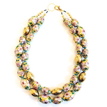 Image of Vintage Floral Gilt Cloisonné Bead Necklace