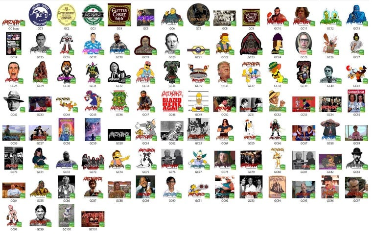 Image of GUTTER CHRIST STICKER PACK 100 DIFF STICKERS
