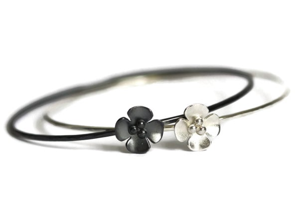 Image of Silver or Oxidised Buttercup Flower skinny stacking bangle