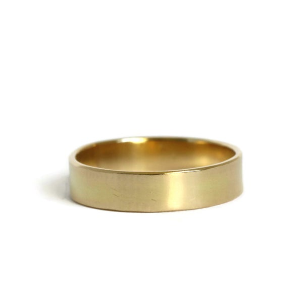 Image of His or Hers - wide 18ct yellow gold flat wedding band
