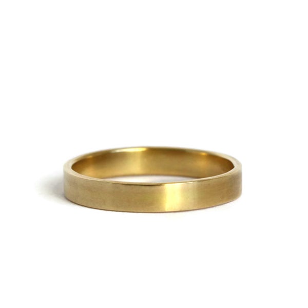 Image of Narrow 18ct yellow gold flat matt wedding band