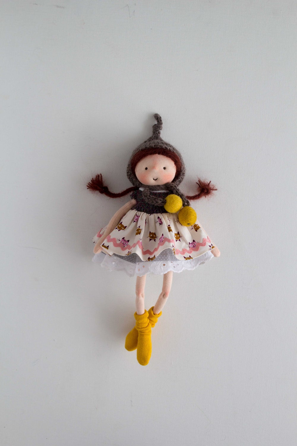 Image of Gretel - wool filled waldorf inspired sculpted sock doll