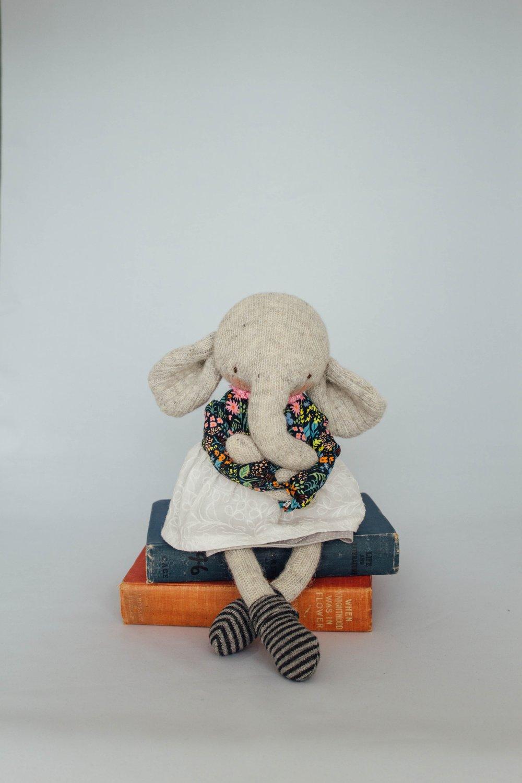 Image of Windsor - Wool Filled Sculpted Sock Elephant