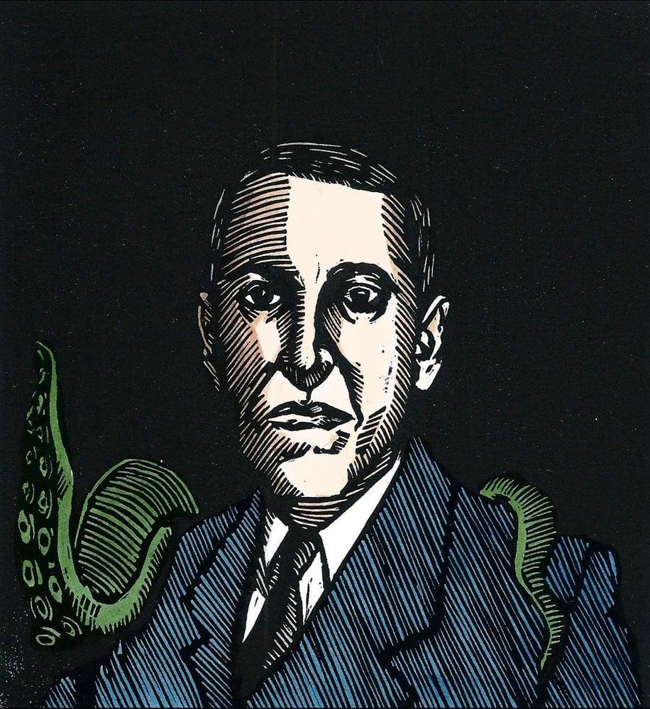 Image of H.P. Lovecraft - Original Linocut Print