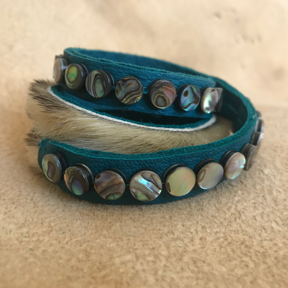 Image of Sealskin and Abalone Wrap Bracelet