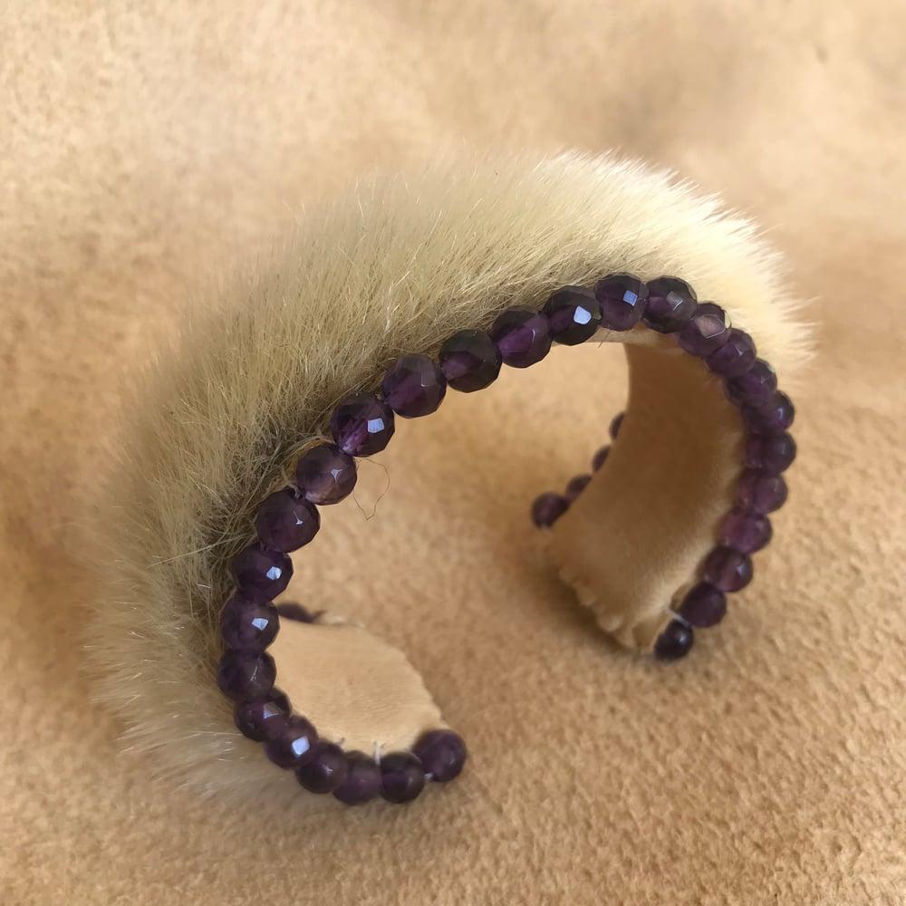 Image of Sealskin and Amethyst Bracelet
