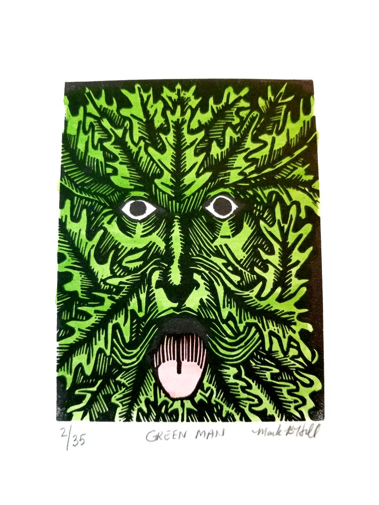 Image of Green Man - Original Linocut Print