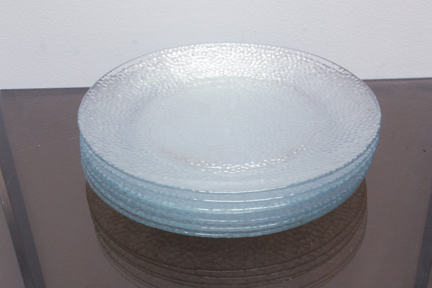 Image of Set of 7 Textured Glass Plates