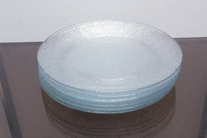 Set of 7 Textured Glass Plates