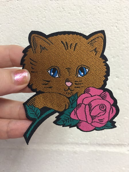 Image of Kitten and Rose iron on patch