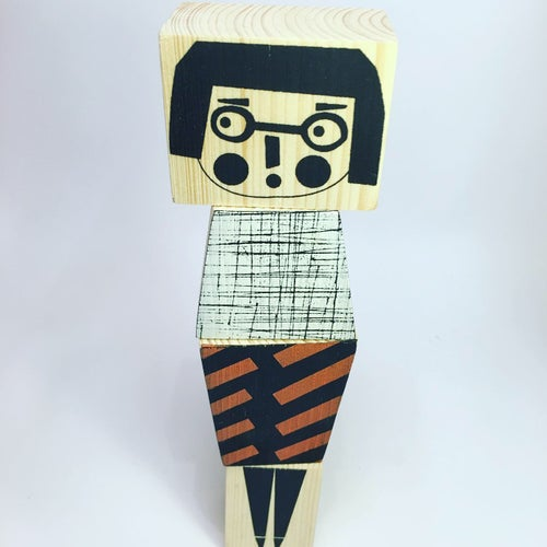 Image of Stackable Wooden Figure - Mix and Match Miss (Glasses)