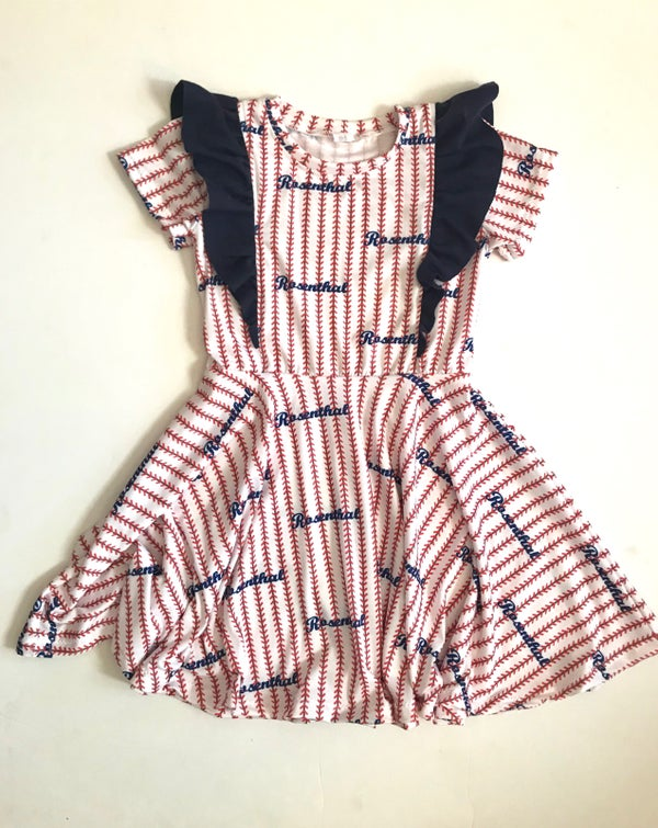 Image of Full Body Flutter Pinstripe Stitch Dress Custom Baseball