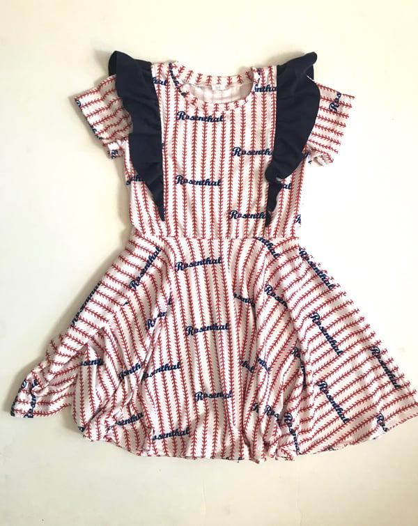 Image of Full Body Flutter Pinstripe Stitch Dress Custom Baseball