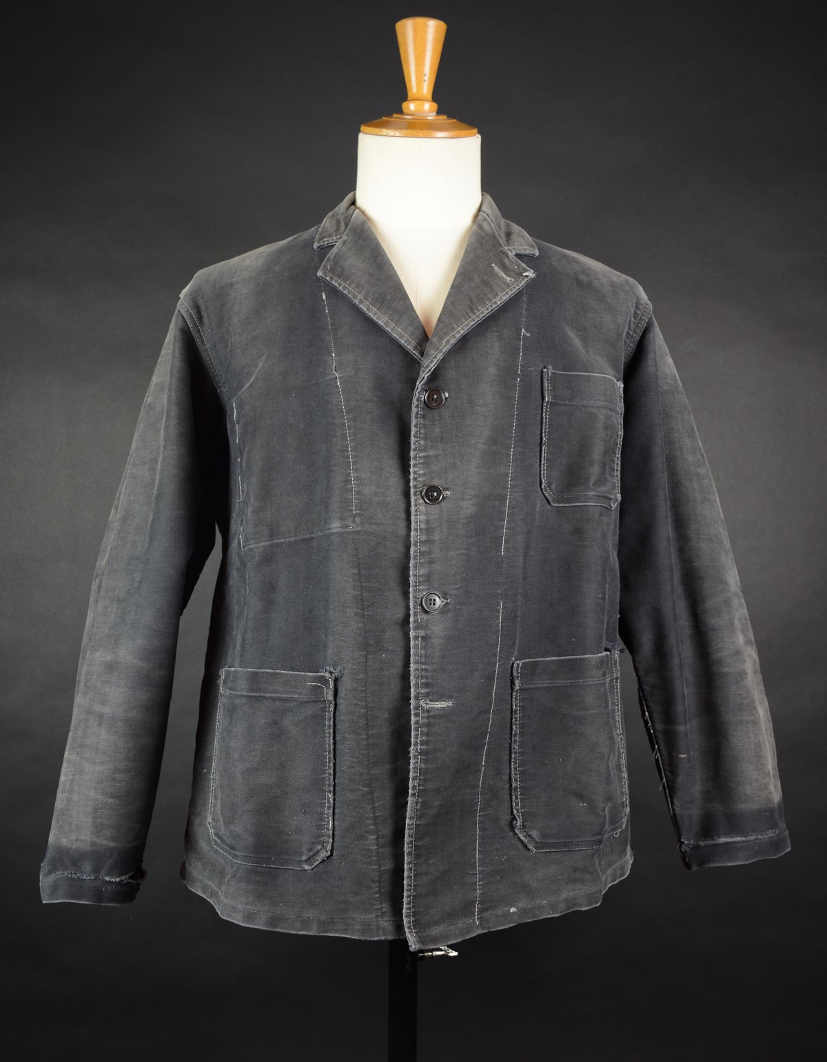 Image of 1940'S FRENCH BLACK MOLESKIN WORK JACKET