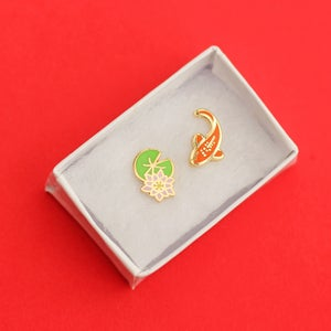 Image of Koi fish and lilypad, mismatched earrings - gold plated - 925 silver posts - hard enamel studs