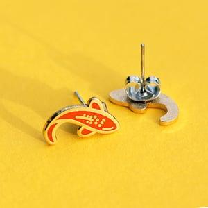 Image of Orange Koi fish earrings - gold plated - 925 silver posts - hard enamel studs