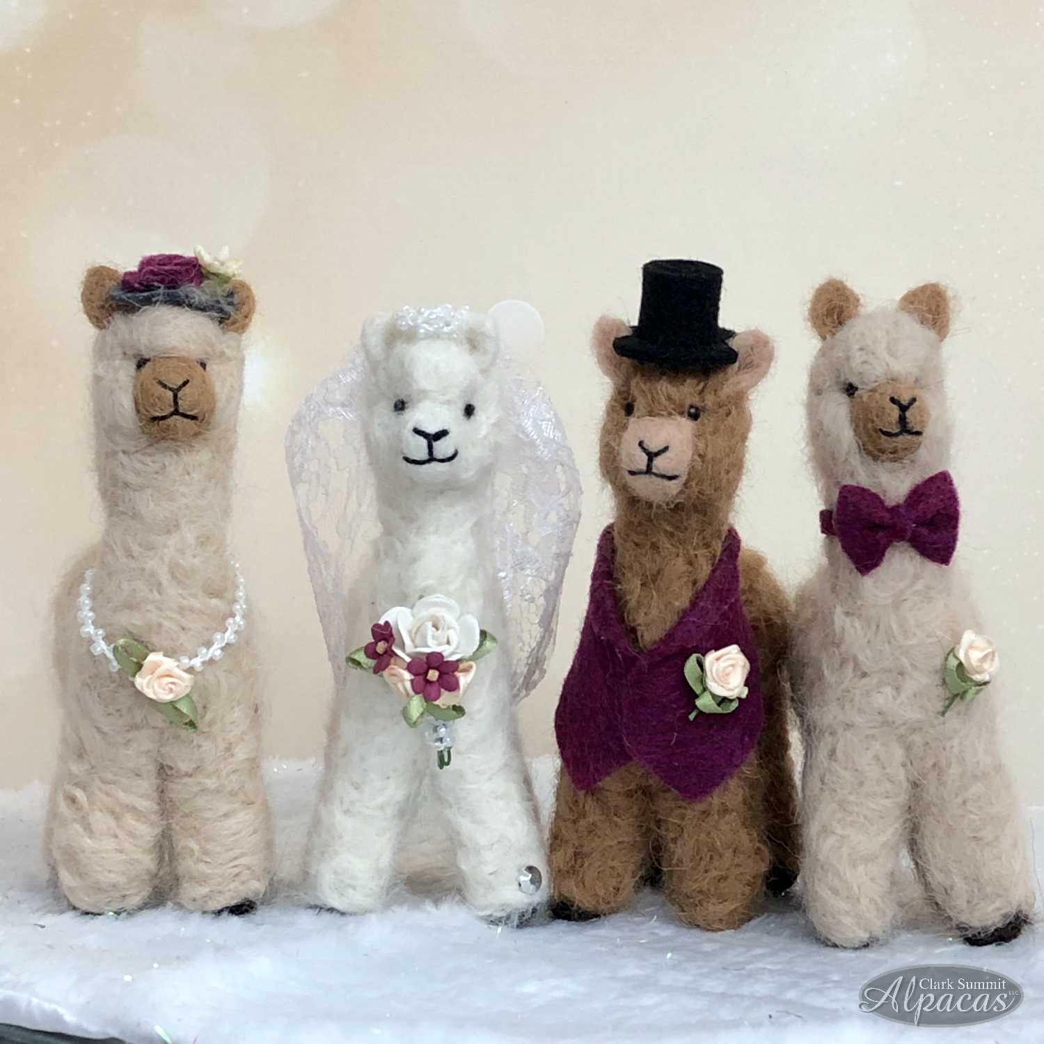 Image of Alpaca Bridal Party Customized Bride Groom Wedding Decor Cake Topper Alpaca Fiber
