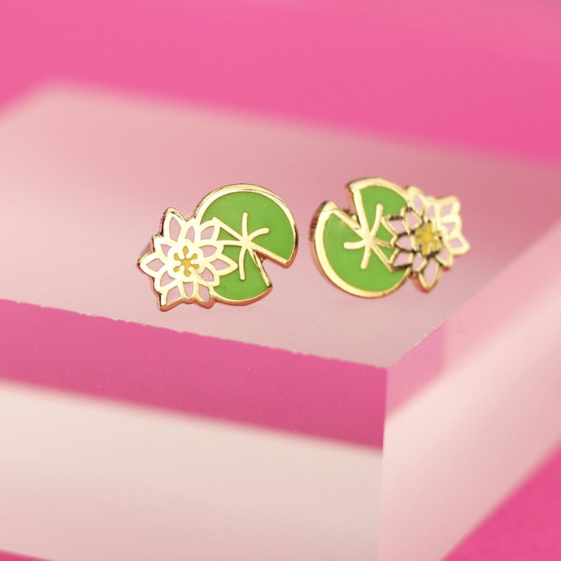 Image of Lilypad earrings - gold plated - 925 silver posts - hard enamel studs