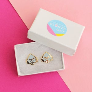 Image of Grey bunny snoot earrings - rabbit nose - gold plated - 925 silver posts - hard enamel studs