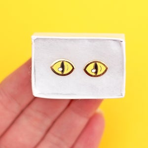 Image of Yellow cat eye earrings - cat eyes - gold plated - 925 silver posts - hard enamel studs