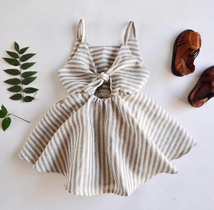 Image of Sunday Dress in Grey Stripe