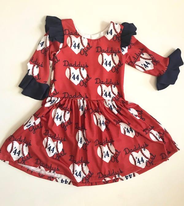 Image of Circle Sleeve Daddy's Girl Heart Back Custom Baseball Dress