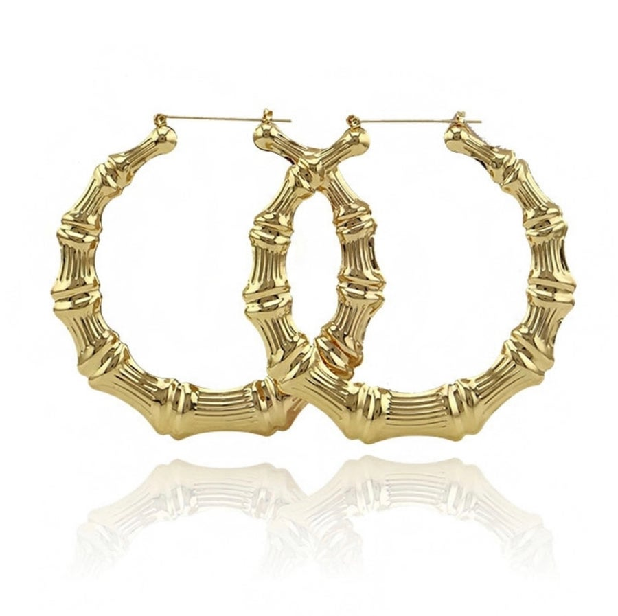 Image of Large Gold Bamboo Round Hoops