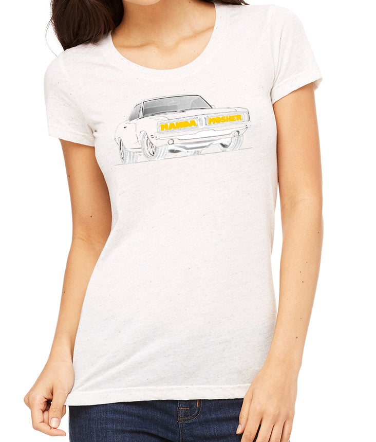 Image of Women's Manda Mosher Charger Car Tee in White