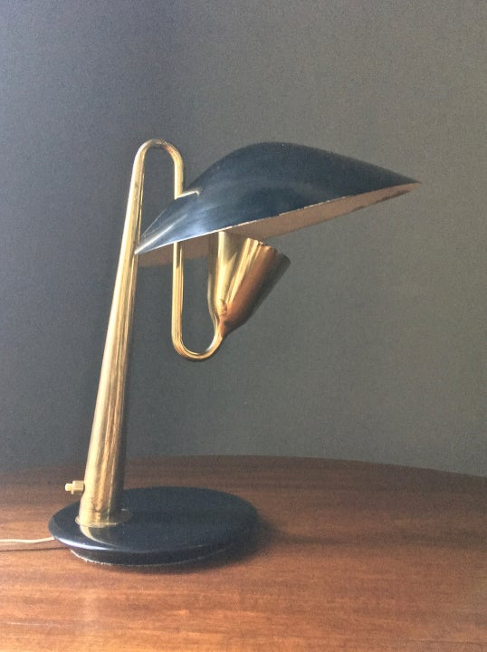Image of Italian Brass Table Lamp Attributed to Giuseppe Ostuni for OLuce, 1950s