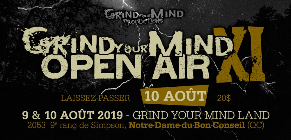 Image of Billet/Ticket Jour 2/Day 2(Samedi 10/Saturday 10th) GRIND YOUR MIND OPEN AIR XI