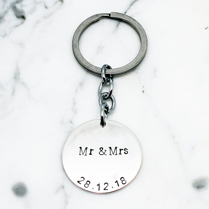 Image of Personalised Mr & Mrs Circle Key Ring