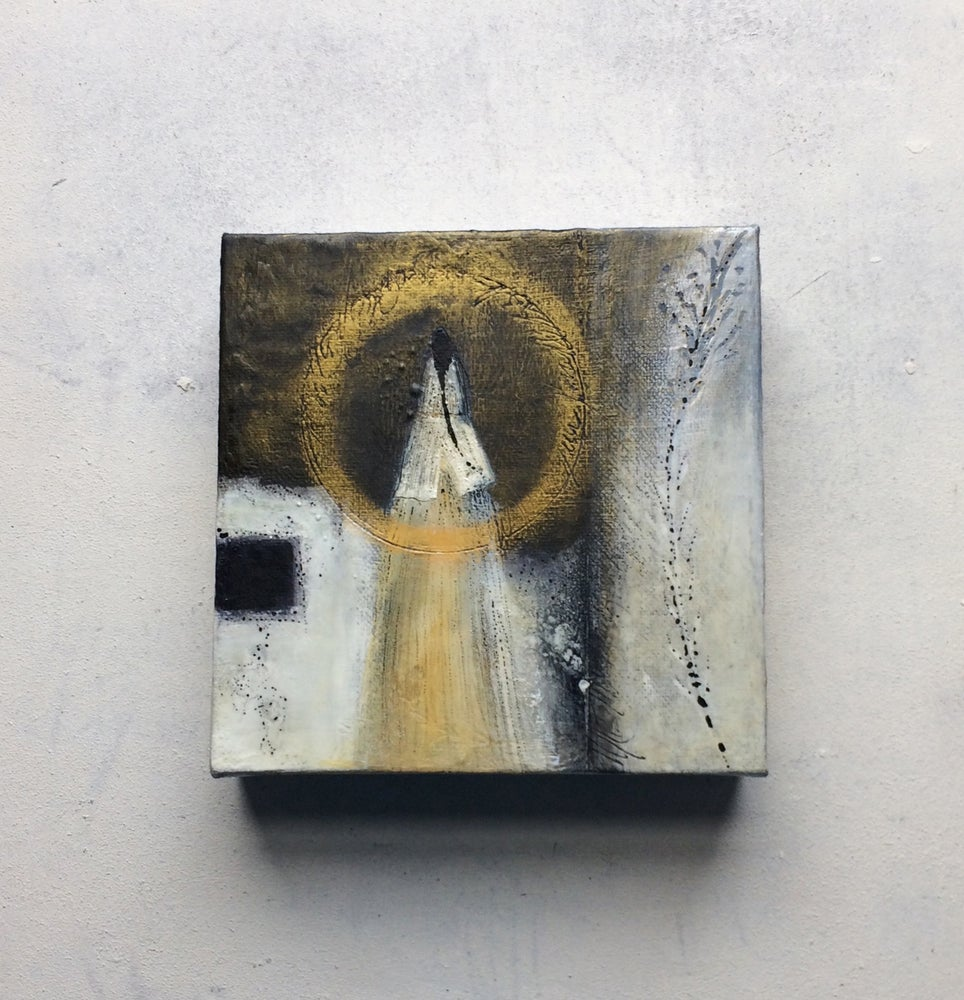 Image of Golden Ring of Light: Mixed Media Painting