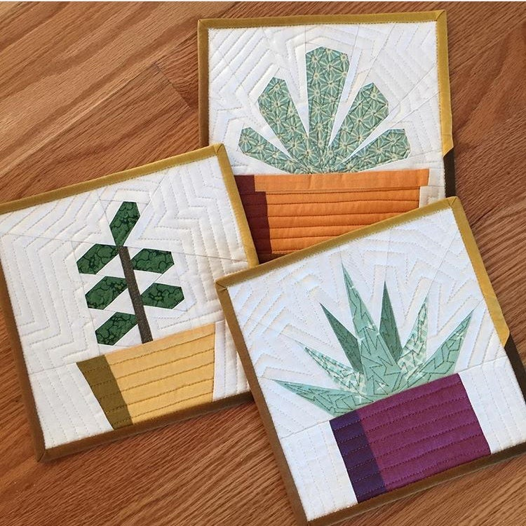 "Image of Succulent Trio Quilt Block Patterns - 8"" x 8"""