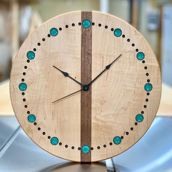 """Image of 14"""" Curly Maple and Walnut clock 1"""